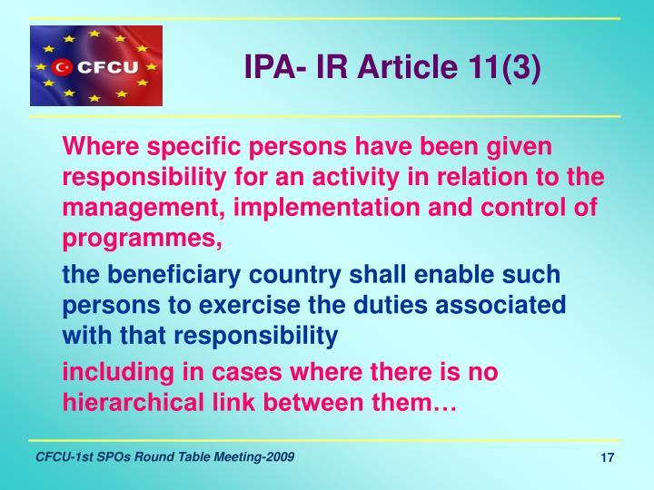 IPA- IR Article 11(3)