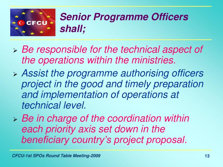 Senior Programme Officers shall;
