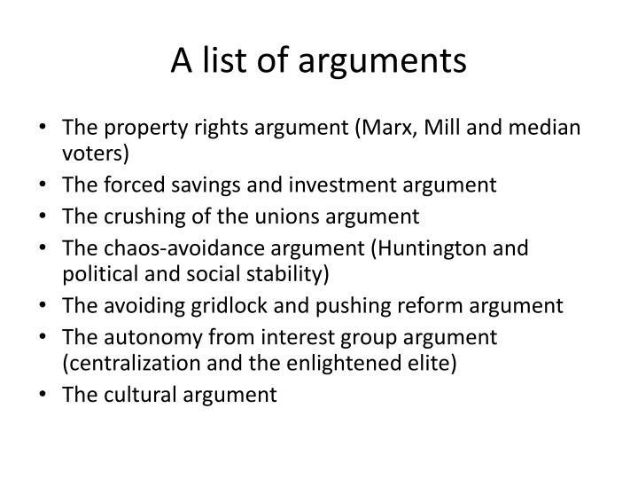 A list of arguments