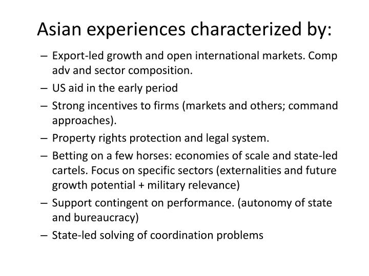 Asian experiences characterized by: