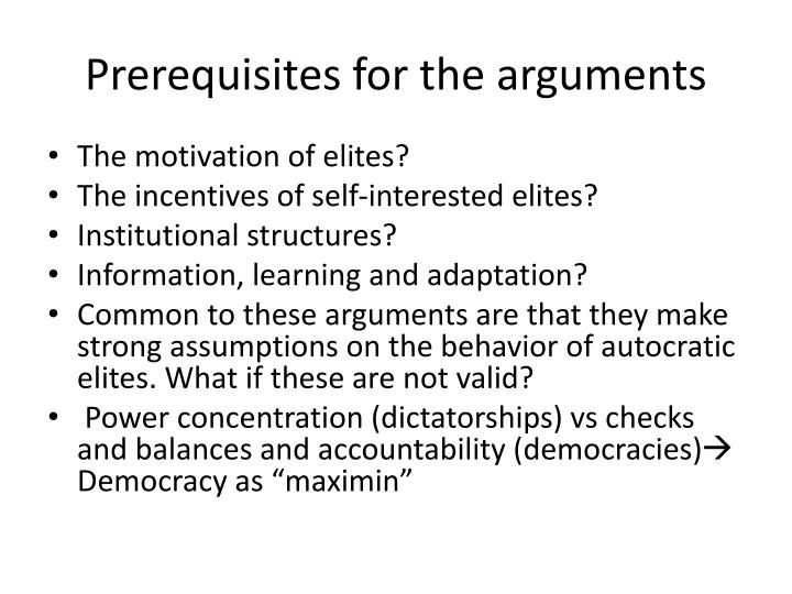 Prerequisites for the arguments