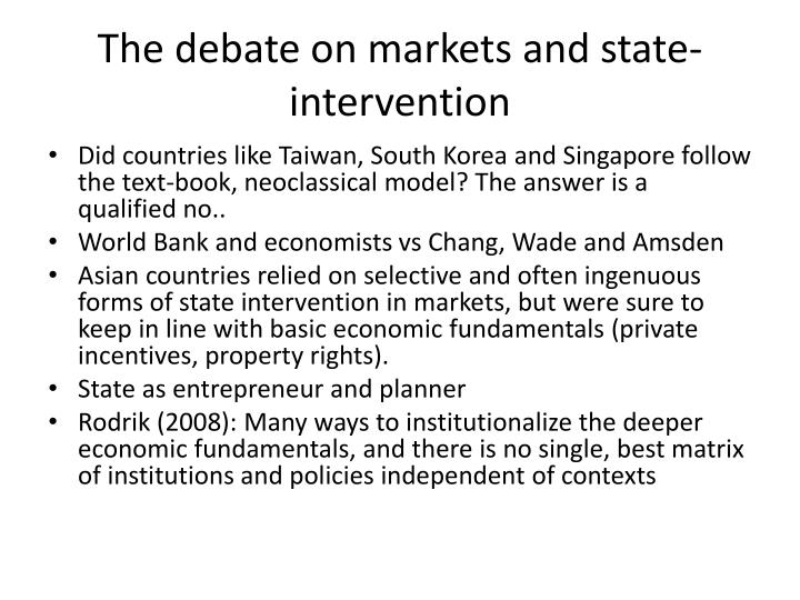 The debate on markets and state-intervention