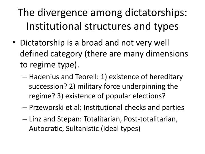 The divergence among dictatorships: Institutional structures and types