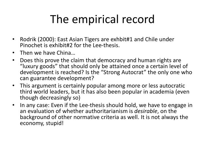 The empirical record