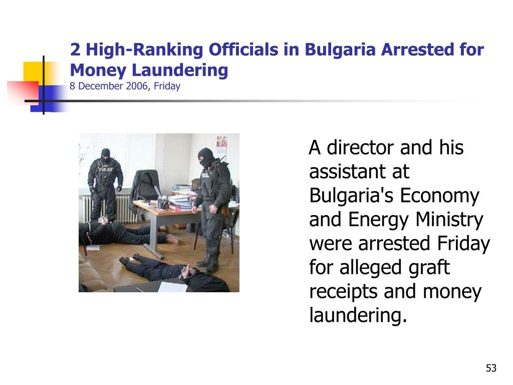 2 High-Ranking Officials in Bulgaria Arrested for Money Laundering