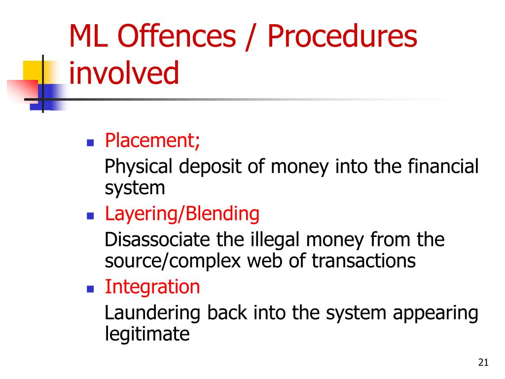 ML Offences / Procedures involved