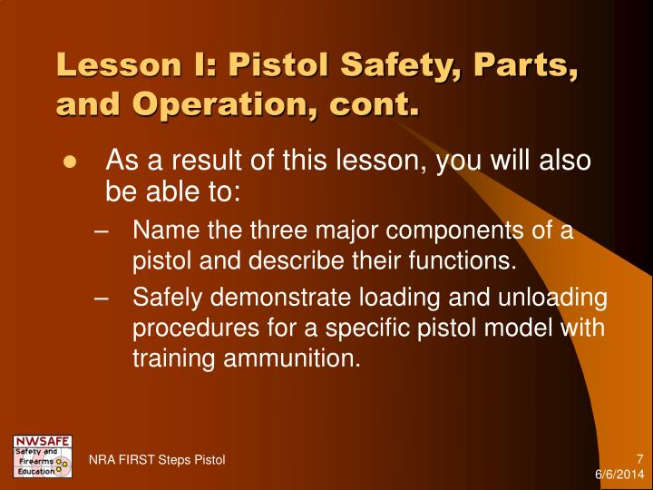 Lesson I: Pistol Safety, Parts, and Operation, cont.
