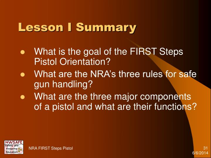 Lesson I Summary
