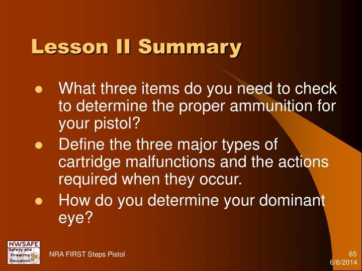 Lesson II Summary