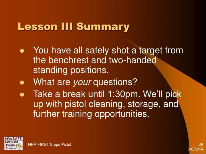 Lesson III Summary