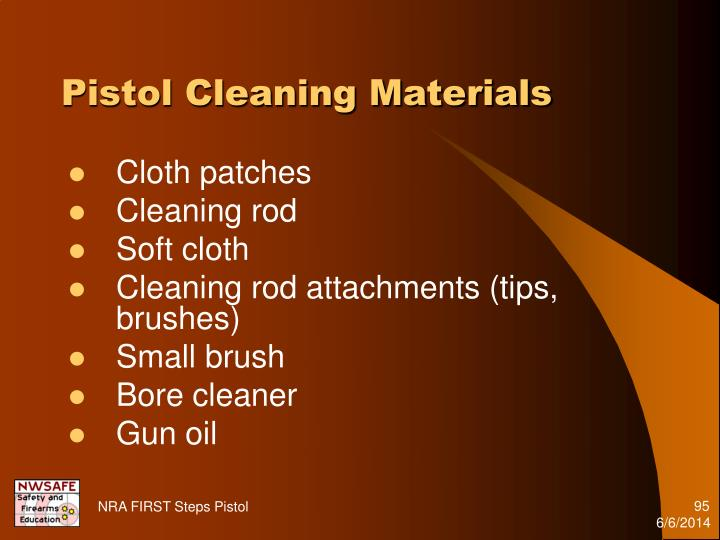 Pistol Cleaning Materials