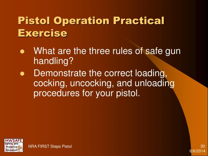 Pistol Operation Practical Exercise