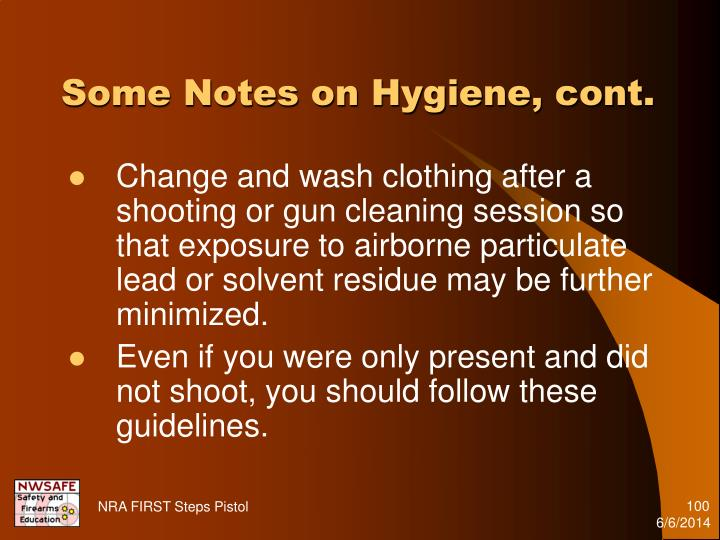Some Notes on Hygiene, cont.
