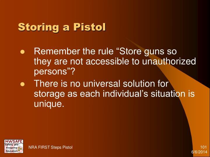 Storing a Pistol