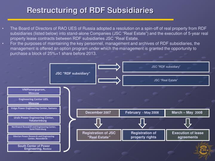 Restructuring of RDF Subsidiaries