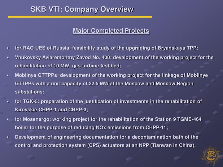 SKB VTI: Company Overview