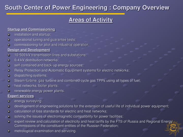 South Center of Power Engineering : Company Overview