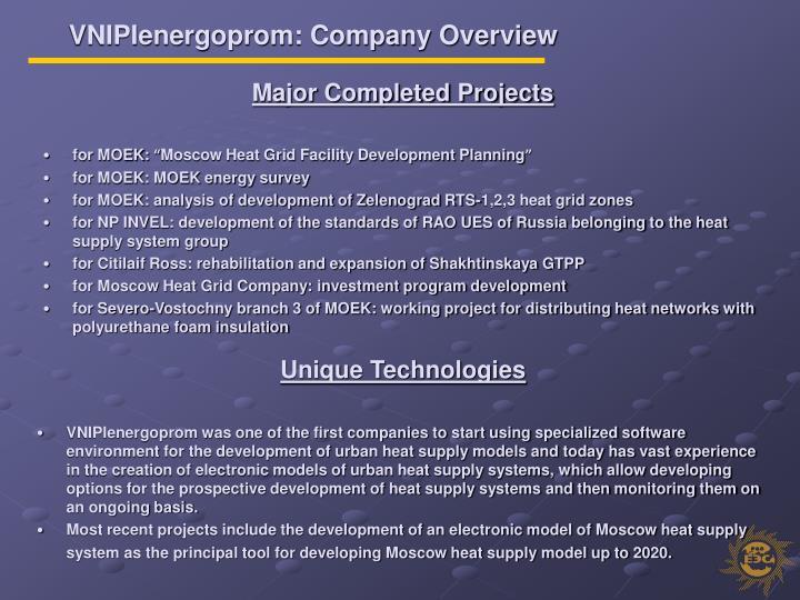 VNIPIenergoprom: Company Overview