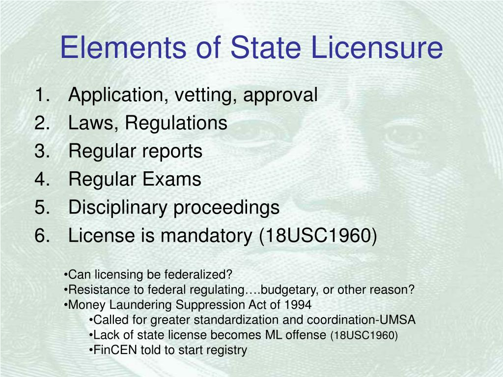 Elements of State Licensure