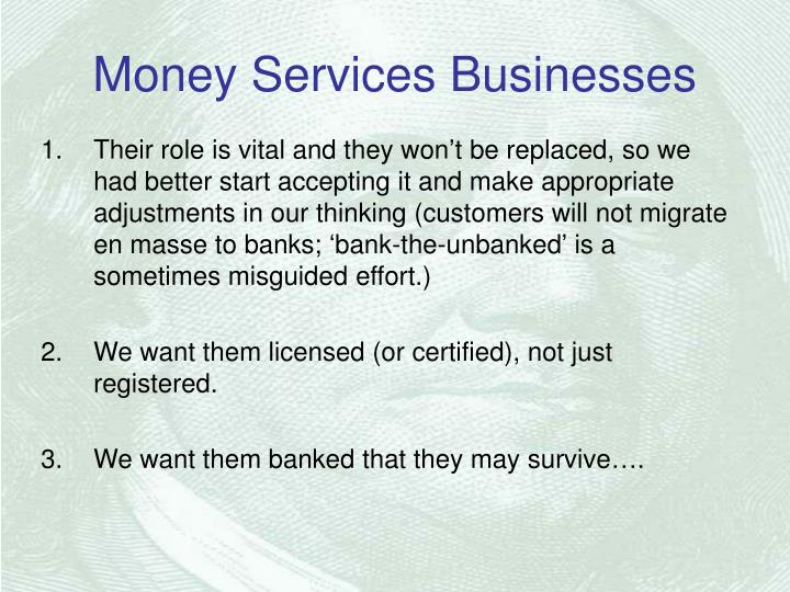 Money services businesses