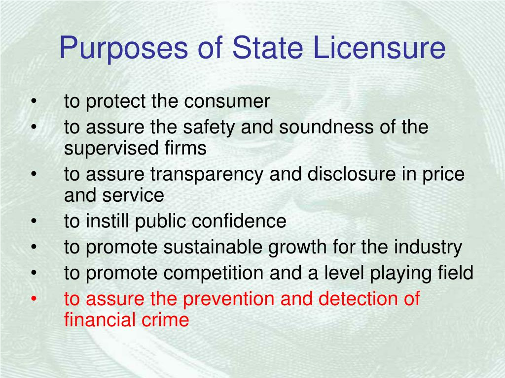 Purposes of State Licensure