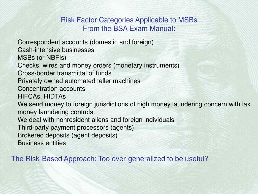 Risk Factor Categories Applicable to MSBs