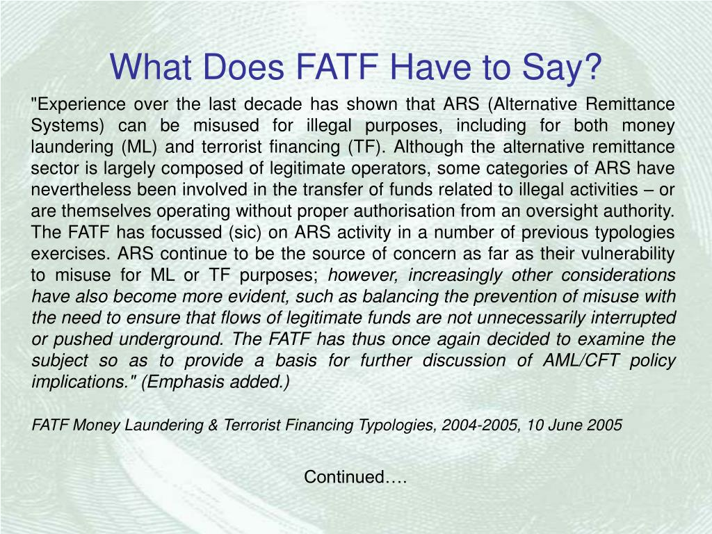 What Does FATF Have to Say?