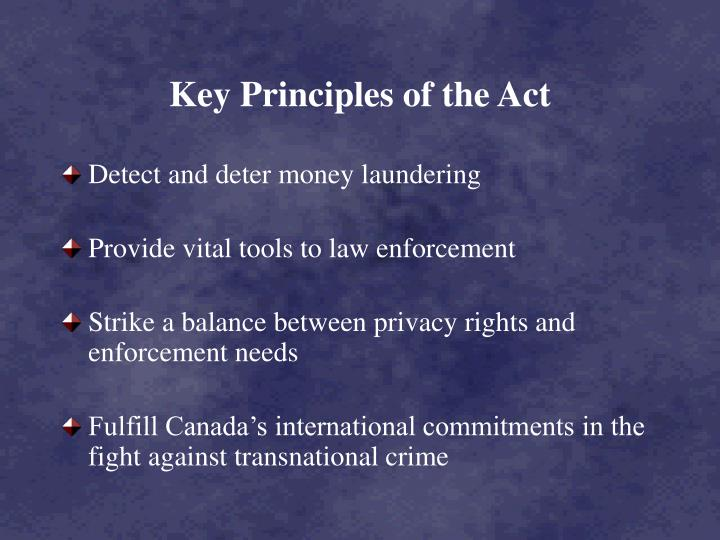 Key principles of the act