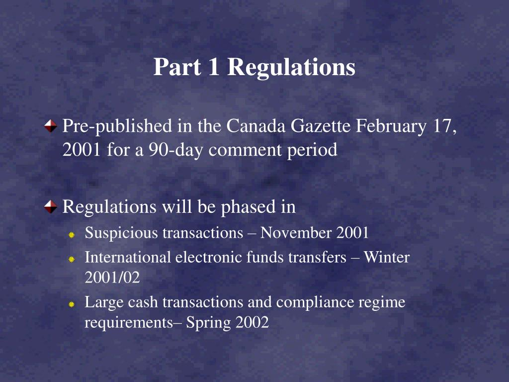 Part 1 Regulations