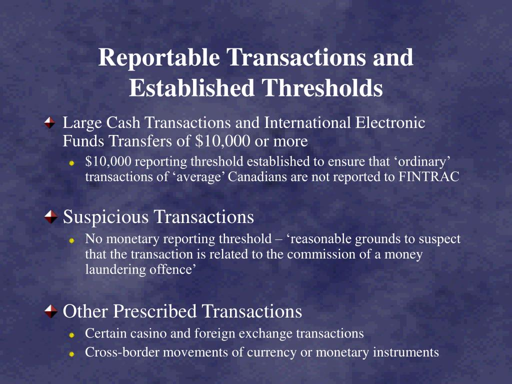 Reportable Transactions and Established Thresholds