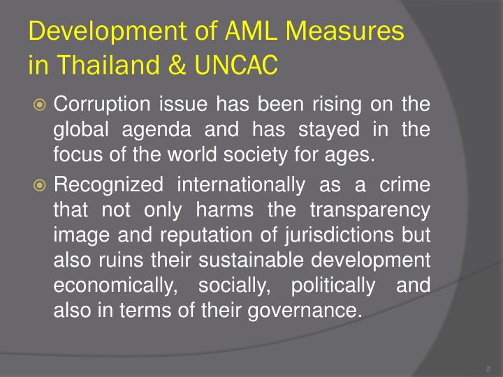 Development of aml measures in thailand uncac