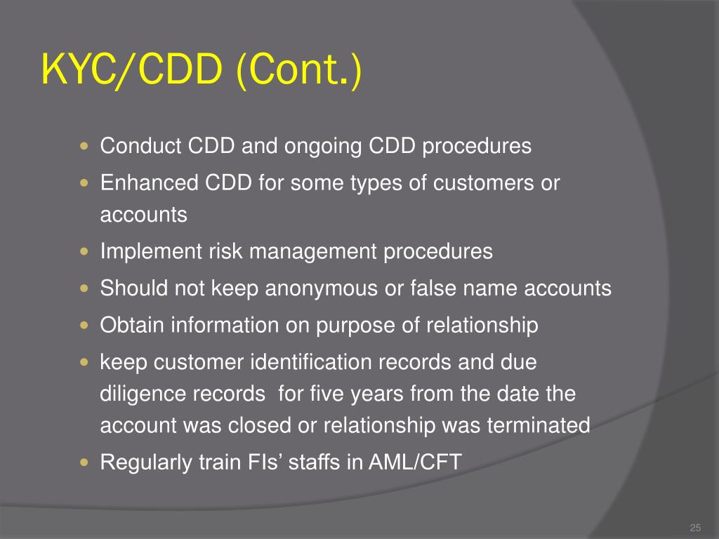 KYC/CDD (Cont.)