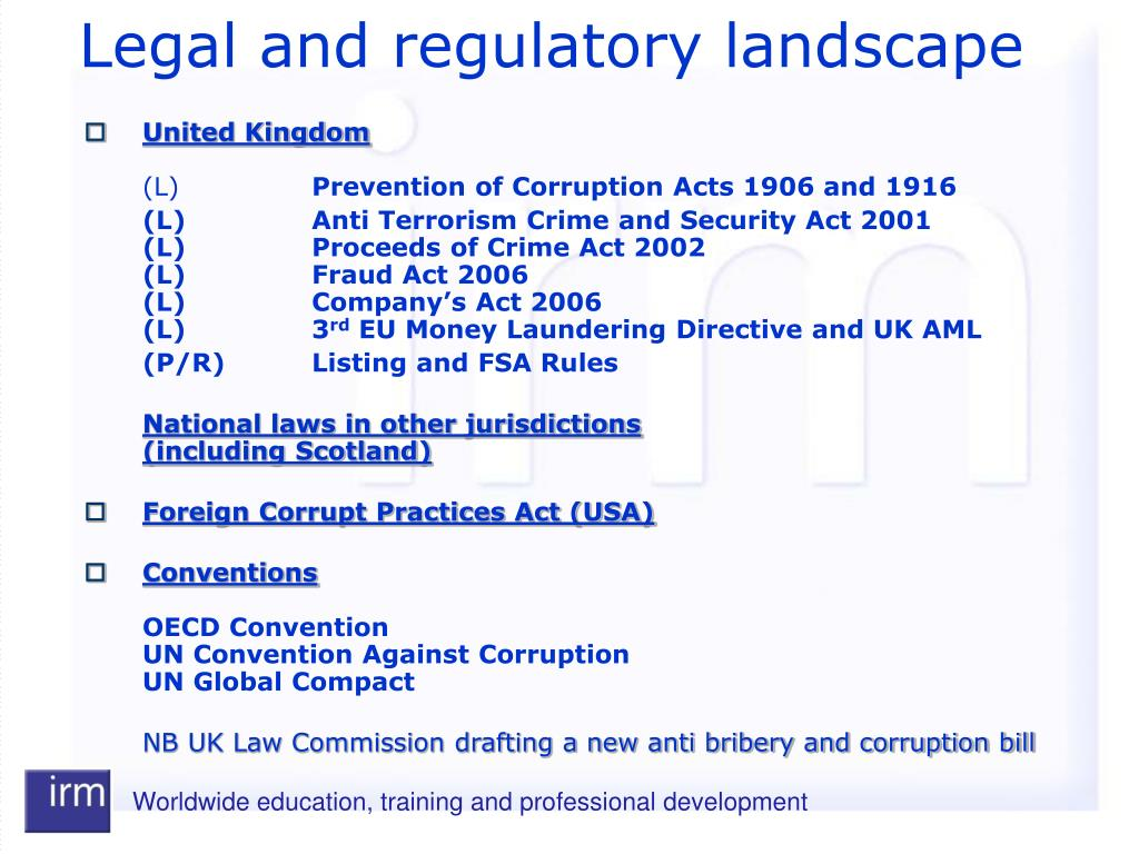 Legal and regulatory landscape