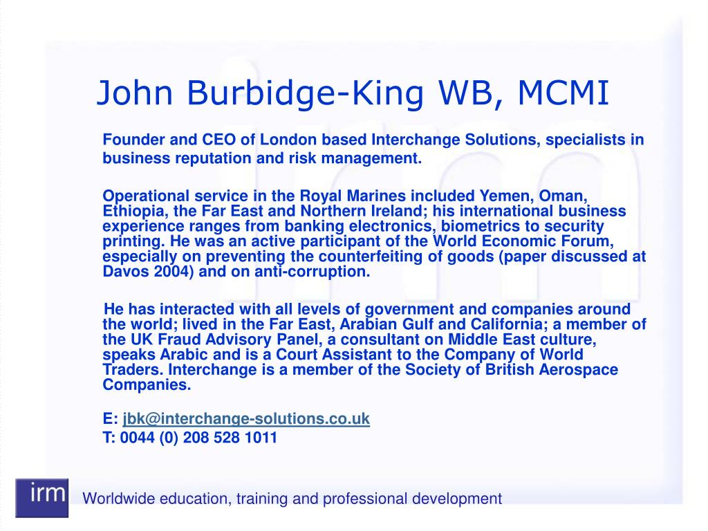 John Burbidge-King WB, MCMI