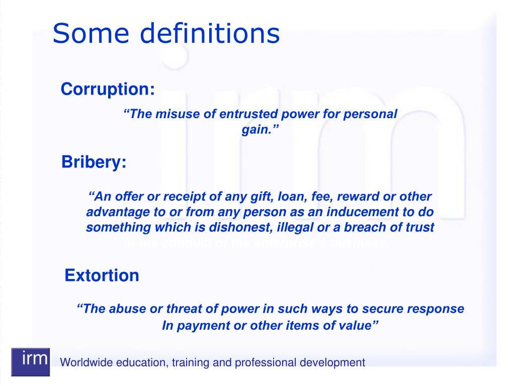 Corruption:
