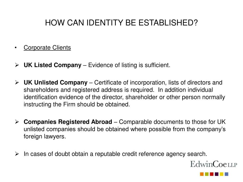 HOW CAN IDENTITY BE ESTABLISHED?