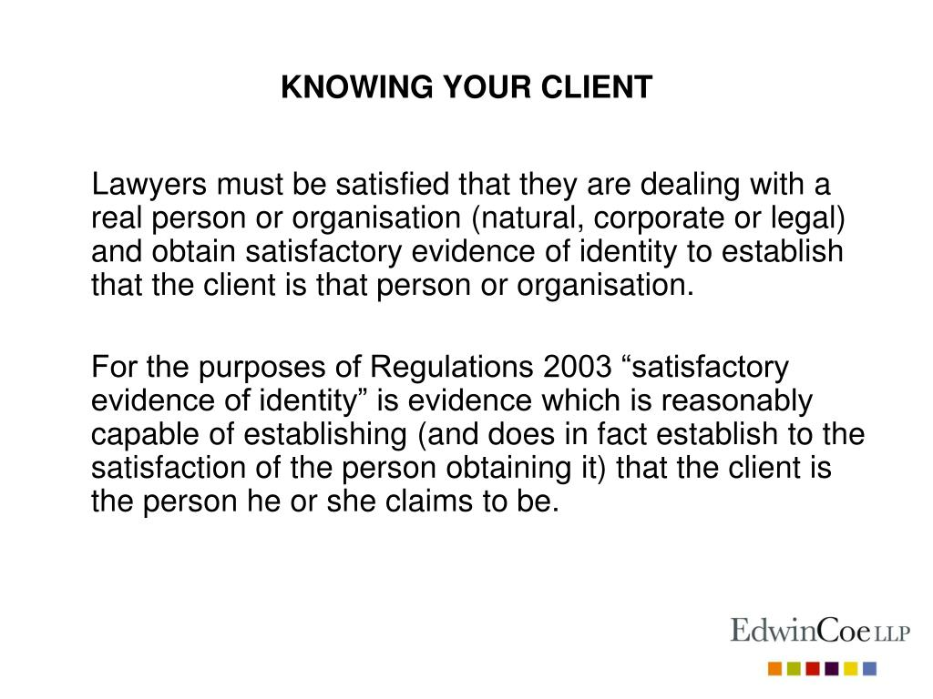 KNOWING YOUR CLIENT