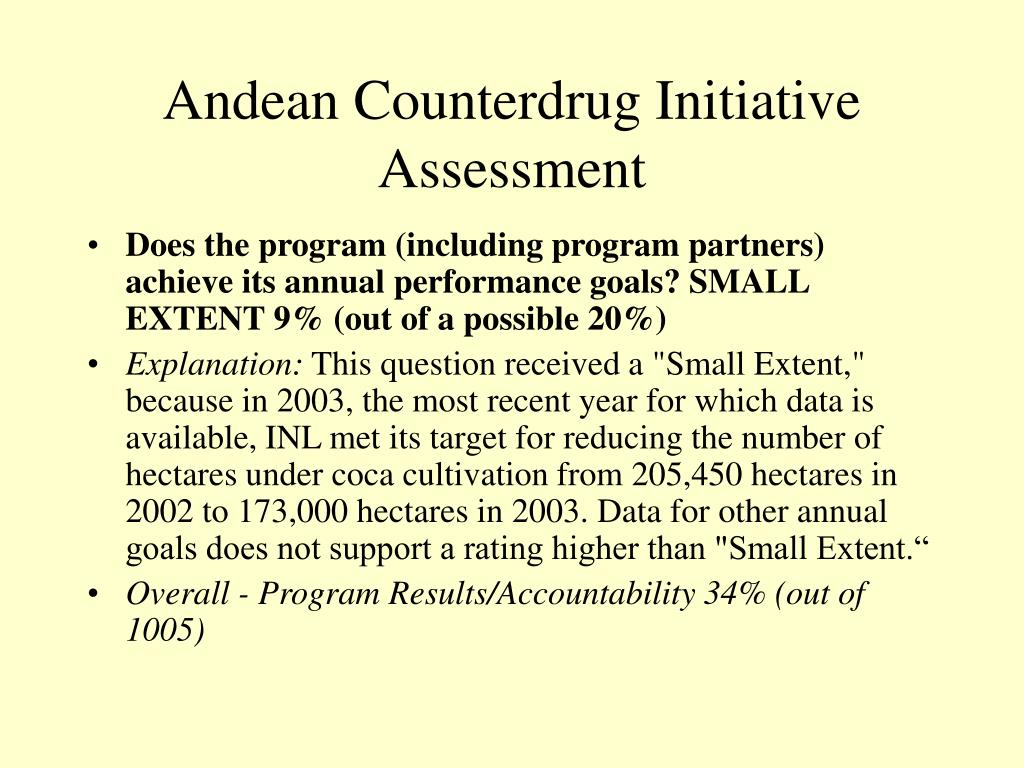 Andean Counterdrug Initiative Assessment