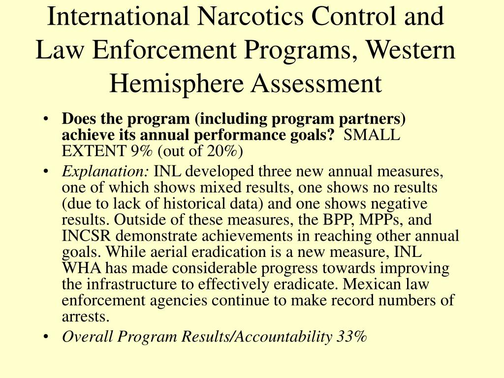 International Narcotics Control and Law Enforcement Programs, Western Hemisphere Assessment