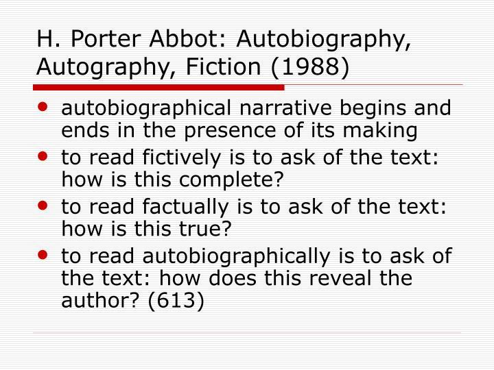 H. Porter Abbot: Autobiography, Autography, Fiction (1988)