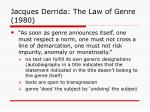 jacques derrida the law of genre 1980