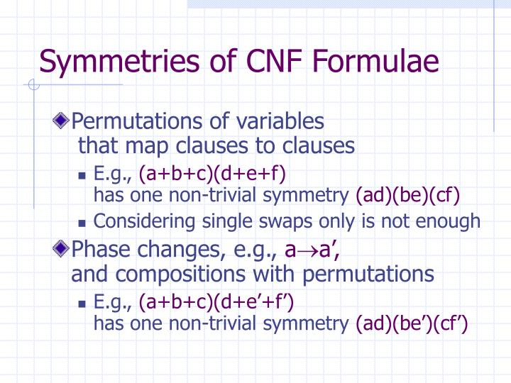 Symmetries of CNF Formulae