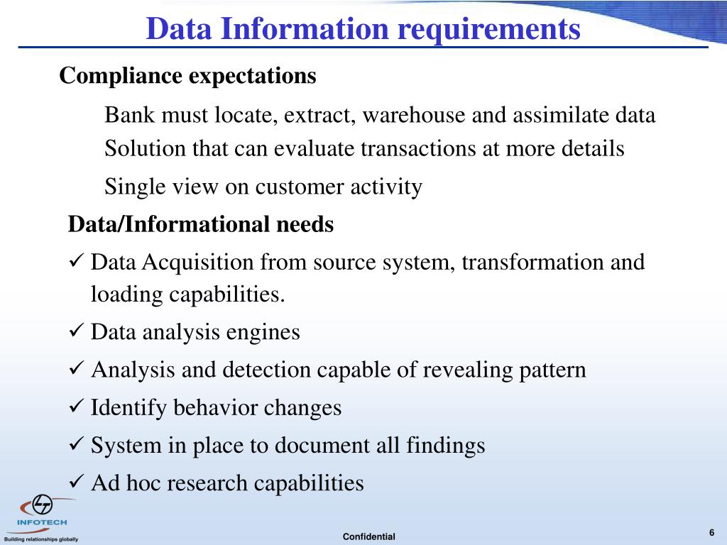 Data Information requirements