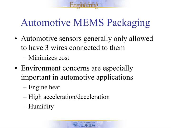 Automotive MEMS Packaging