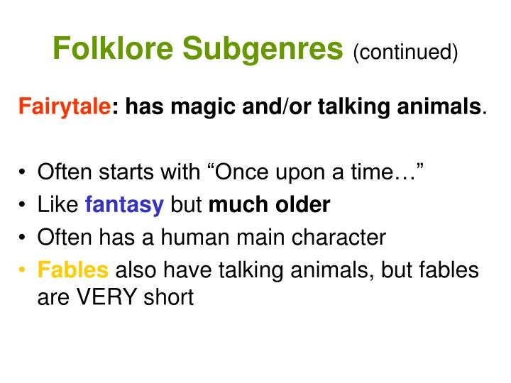 Folklore Subgenres