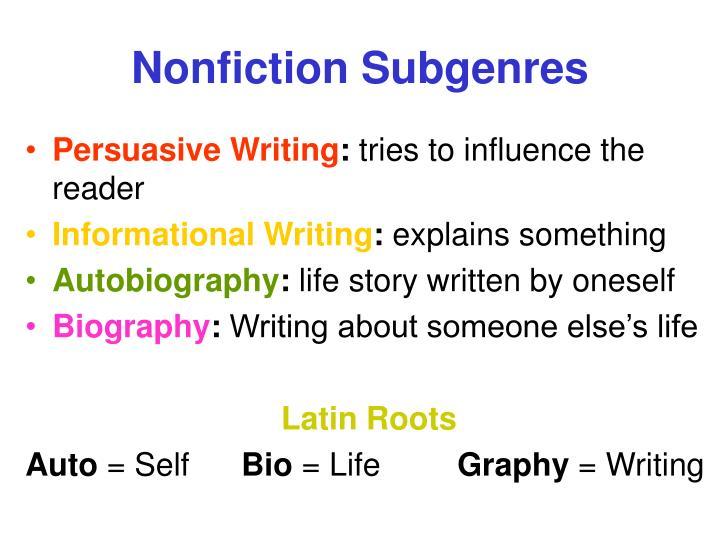 Nonfiction Subgenres