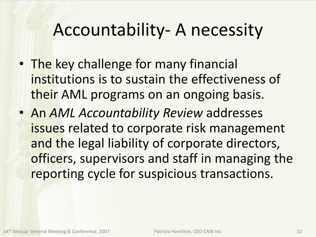 Accountability- A necessity