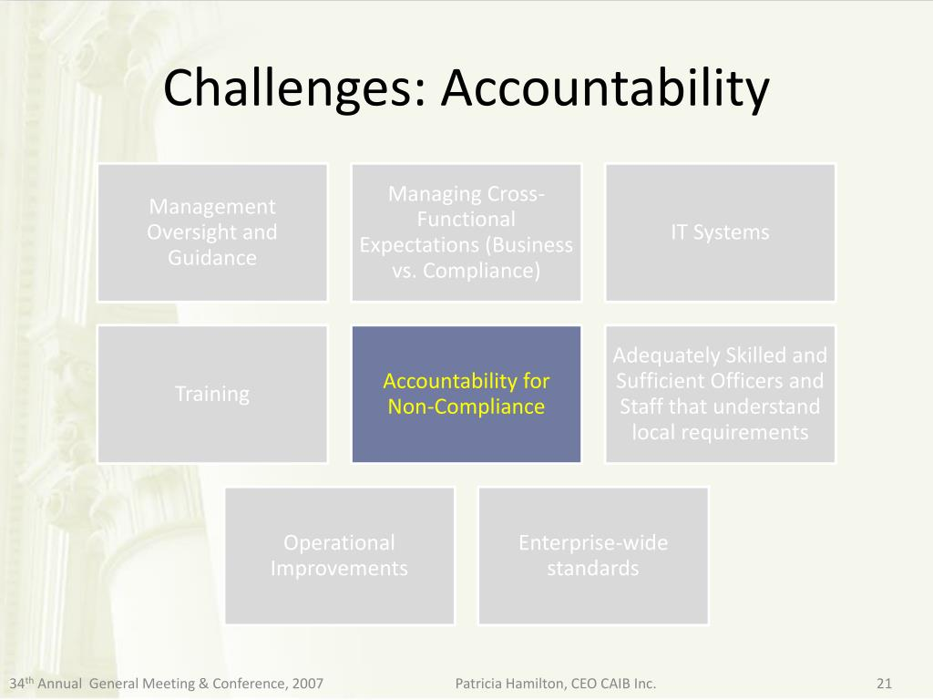 Challenges: Accountability