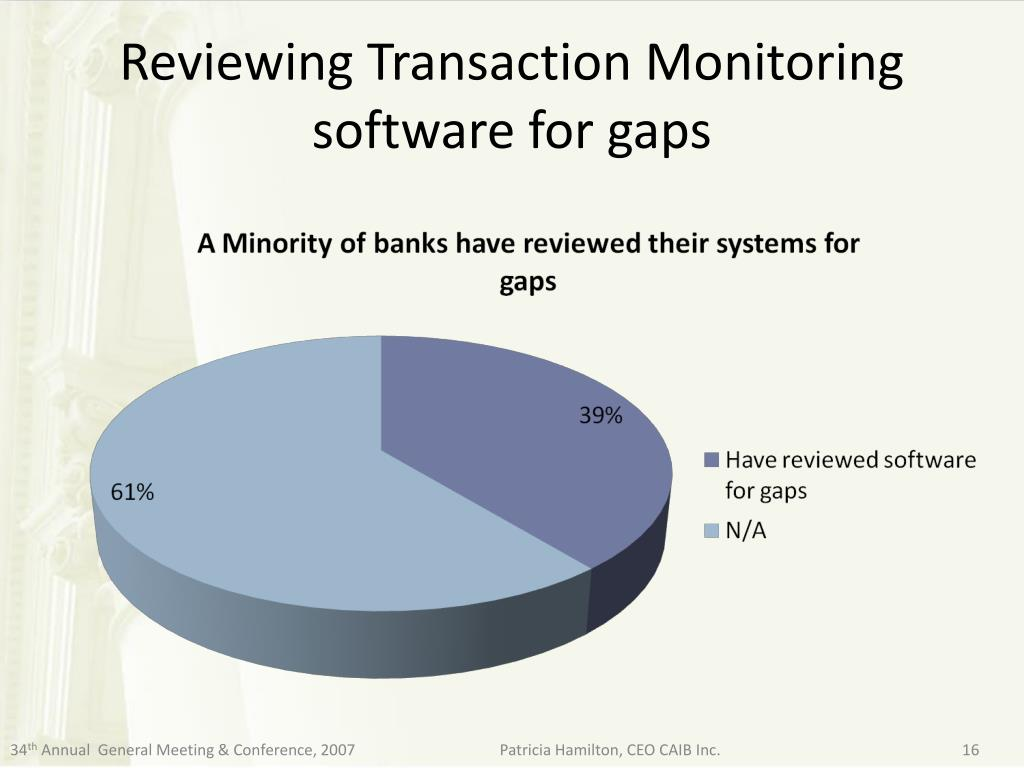 Reviewing Transaction Monitoring software for gaps