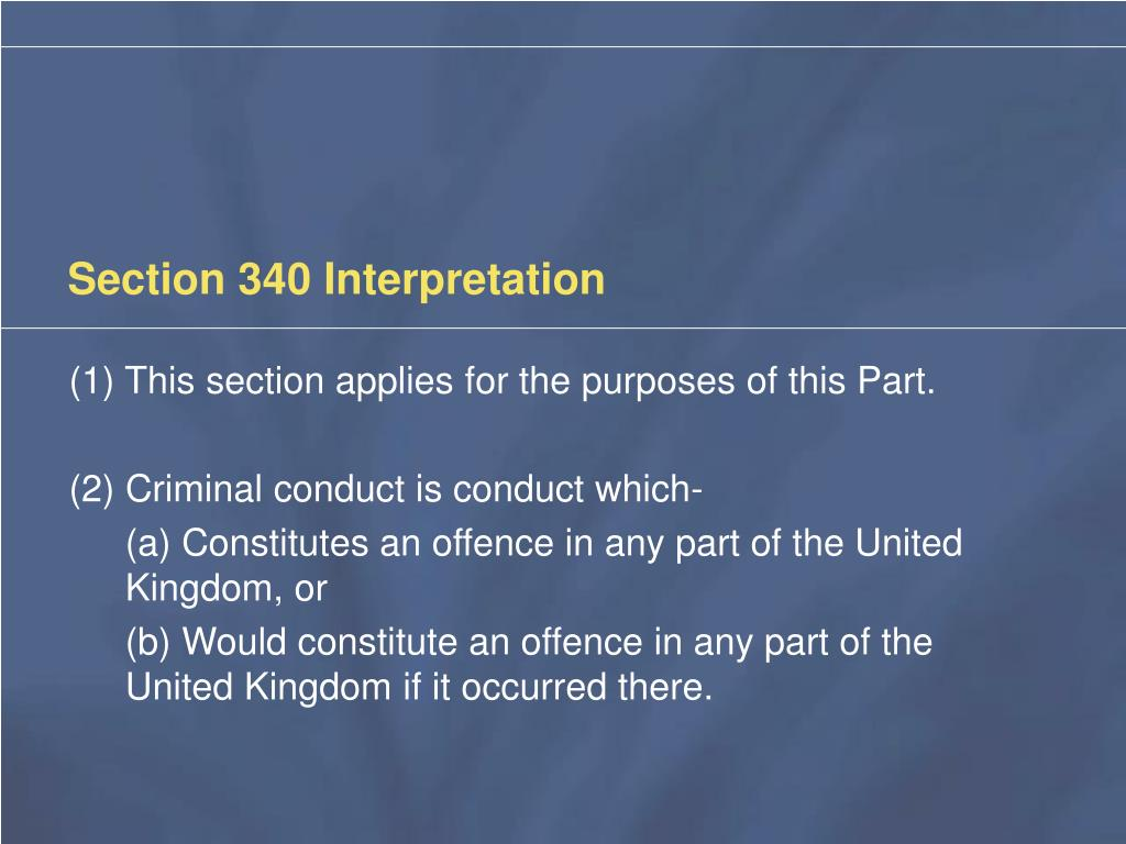 Section 340 Interpretation